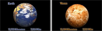 Earth and Venus diameter comparison (screenshot from NASA What's The Difference)
